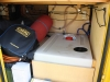 Heckgarage mit 150l Frischwassertank, Heizung, Boiler, Druckwasserpumpe und 220V Außenstromversorgung
